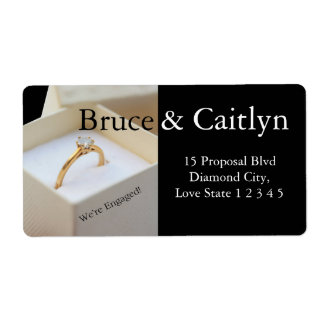 Diamond ring engagement announcement shipping label