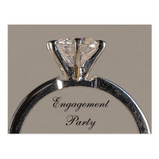 Diamond Ring on Gray Engagement Party Invitation Postcard