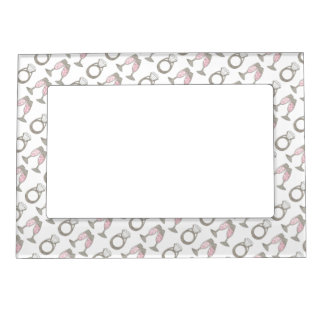 Diamond Ring Wedding Pink Champagne Bride Frame Picture Frame Magnets