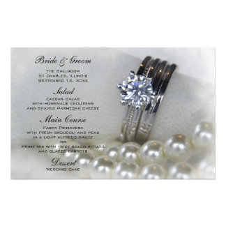 Diamond Rings and White Pearls Wedding Stationery