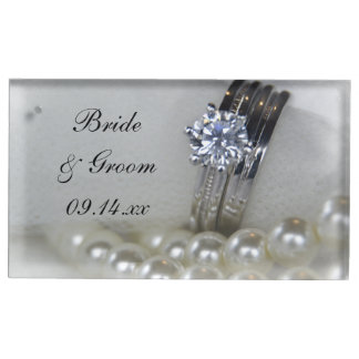 Diamond Rings and White Pearls Wedding Table Number Holder