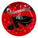 Diamond Tiara Red and Black Quinceanera Invites