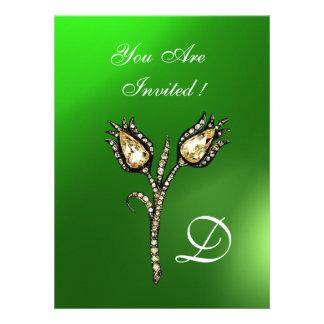DIAMOND TULIPS MONOGRAM Green Emerald Invitations