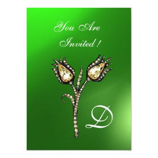 DIAMOND TULIPS MONOGRAM ,Green Emerald Invitations