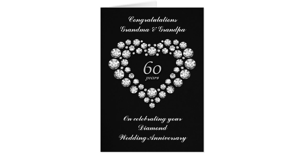 Diamond Wedding Anniversary Gifts For Grandparents: Diamond Wedding Anniversary Card - 60 Years