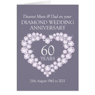 Diamond wedding anniversary mum and dad card