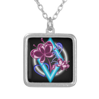 Diamond with purple flowers silver plated necklace
