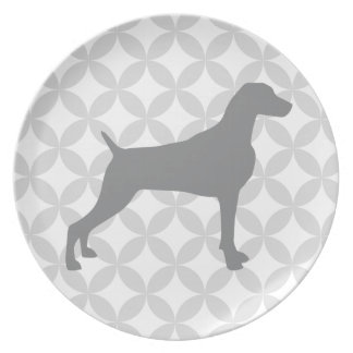 DIAMOND  WITH TAUPE WEIMARANER SILHOUETTE PLATE