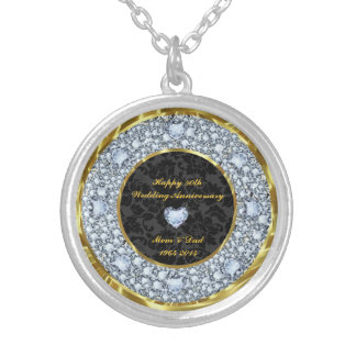 Diamonds, Black And Gold 50th Wedding Anniversary Silver Plated Necklace