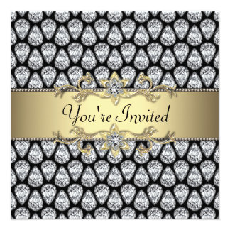 """Diamonds Black & Gold All Occasion Party Invitatio 5.25"""" Square Invitation Card"""