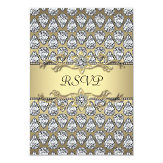 Diamonds Black & Gold All Occasion Party RSVP 9 Cm X 13 Cm Invitation Card