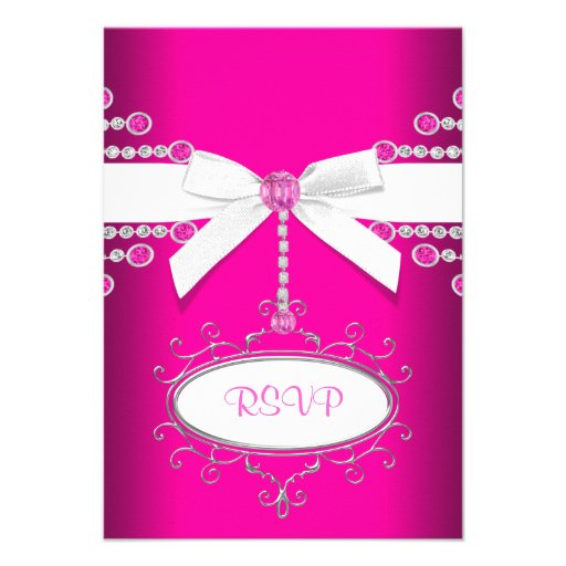 Diamonds Bow Hot Pink Quinceanera RSVP Personalized Announcement