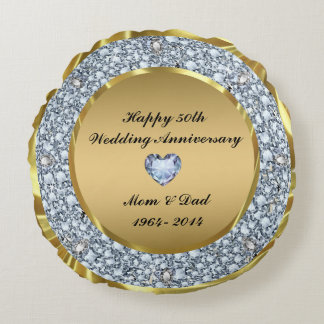Diamonds & Gold 50th Wedding Anniversary Round Cushion