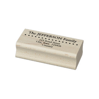 Diamonds Row + Custom Family Name & Address Rubber Stamp