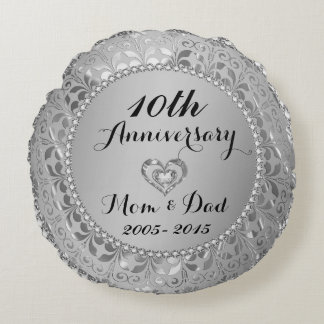 Diamonds & Silver 10th Wedding Anniversary Round Cushion