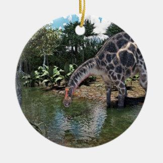 Dicraeosaurus Dinosaur Feeding on a River Christmas Ornament