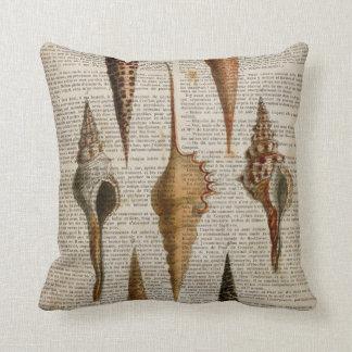 dictionary print french botanical beach seashells cushion