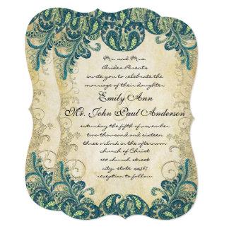 Die Cut Teal Gold & Lime Peacock Wedding 13 Cm X 18 Cm Invitation Card