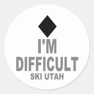 Difficult Ski Utah Classic Round Sticker