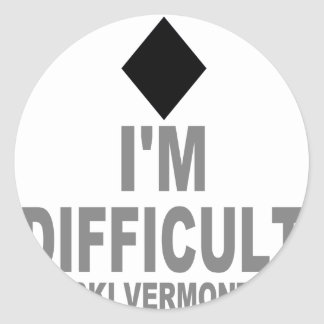Difficult_Ski_VERMONT Classic Round Sticker