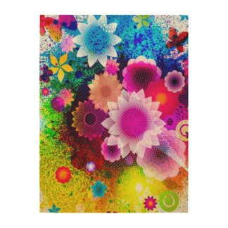 Digital Abstract Flower Collage Airbrush Art Wood Prints