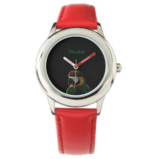Digital colorful parrot fractal name red wristwatch