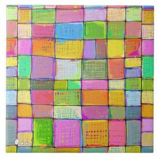 Digital quilt colorful modern art painting unique large square tile