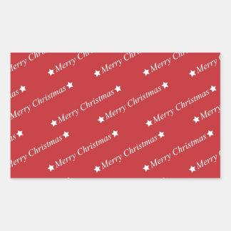 Digital Red Art Christmas Santa Peace Love Destiny Rectangular Stickers