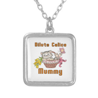 Dilute Calico Cat Mom Silver Plated Necklace