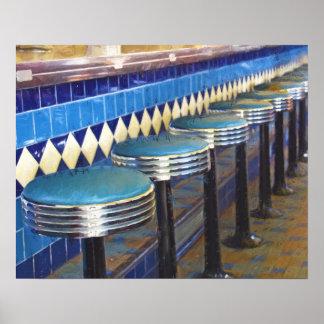Diner Bar Stools Impressionism Poster