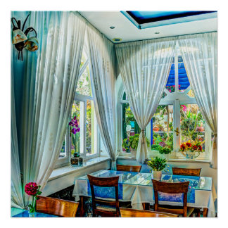 Dining Room with Colorful Outdoor Garden Poster