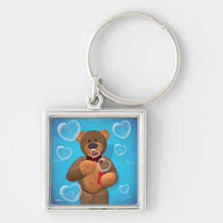 Dinky Bear blowing Heart Bubbles Silver-Colored Square Key Ring