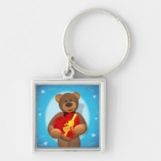 Dinky Bear with Heart Box Silver-Colored Square Key Ring