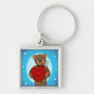Dinky Bear with Heart of Roses Silver-Colored Square Key Ring