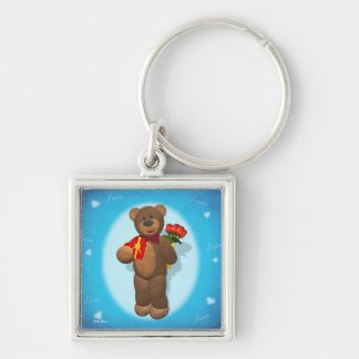 Dinky Bear with Roses & Heart Silver-Colored Square Key Ring