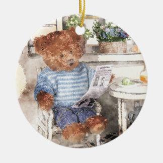 Dinky Bears Watercolor - Reading Bear Christmas Ornament