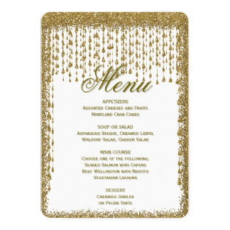 Dinner Menu | Gold Confetti Strings Card