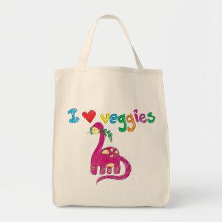 Dino loves veggies tote bag