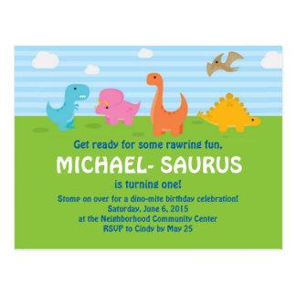Dinosaur 1st Birthday Invite Postcard
