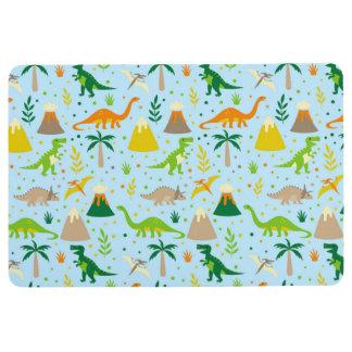 Dinosaur Blue Green Orange Floor Mat