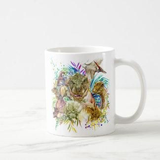 Dinosaur Collage Basic White Mug