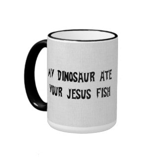 Dinosaur Eats Jesus Fish Ringer Mug