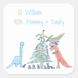 Dinosaur Holiday Christmas Labels