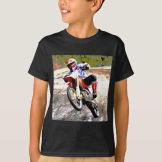 Dirt Bike Wheeling in the Mud in Color T-Shirt