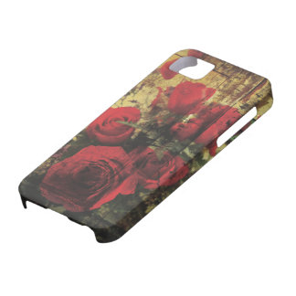 Dirty Distressed & Grungy Red Roses Bouquet Barely There iPhone 5 Case
