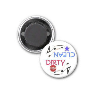 Dirty or Clean Dishes Red White and Blue with Shoe 3 Cm Round Magnet