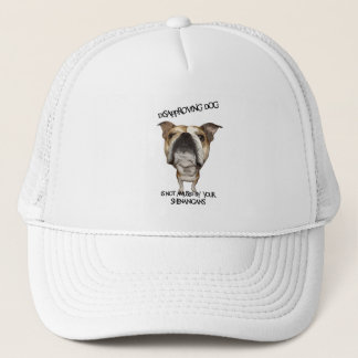 Disapproving Dog Bulldog Not Amused by Shenanigans Trucker Hat