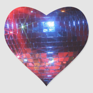 Disco ball with laser beams heart sticker