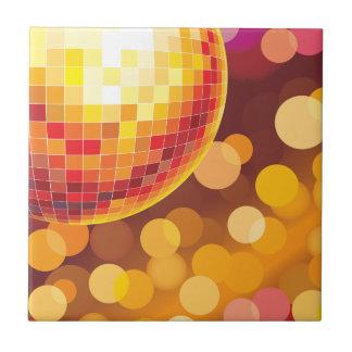 Disco Party Time Golden Lights Tile