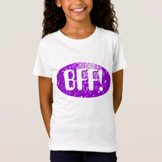 Disco Tiles Purple 'BFF!' girls fitted t-shirt